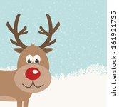 reindeer snowy background   Shutterstock .eps vector #161921735