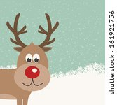 reindeer snowy background | Shutterstock .eps vector #161921756