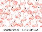 pink flamingo seamless pattern... | Shutterstock . vector #1619234065