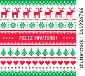 Feliz navidad card - scandynavian christmas pattern - stock vector