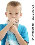 sic caucasian boy  who cough  | Shutterstock . vector #161930726