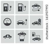 vector black electric car icons ... | Shutterstock .eps vector #161937992