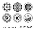 set of sacred mystical symbols. ... | Shutterstock .eps vector #1619393488