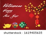 vietnamese tet holiday new year ...   Shutterstock .eps vector #1619405635