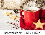 Hot Winter Tea In A Red Mug...
