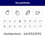 tea and fruits icons. set of... | Shutterstock .eps vector #1619523592