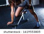strong female athlete doing one ... | Shutterstock . vector #1619553805