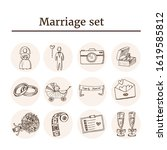 marriage hand drawn doodle set. ... | Shutterstock .eps vector #1619585812