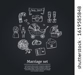 marriage set. vector... | Shutterstock .eps vector #1619585848