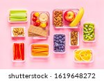 healthy snack on a pastel... | Shutterstock . vector #1619648272