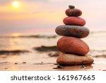 Stones Pyramid On Sand...