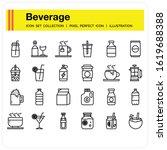 beverage icons set  design...
