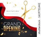 grand opening. golden confetti... | Shutterstock .eps vector #1619751442