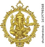golden ganesha hindu god of... | Shutterstock .eps vector #1619798368