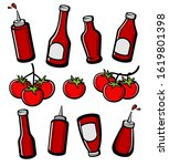 bottles ketchup set. collection ... | Shutterstock .eps vector #1619801398