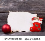 Christmas background with empty vintage paper and decoration - stock photo