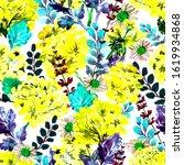 watercolor bright flowers.... | Shutterstock . vector #1619934868