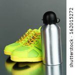 sports bottle and sneakers on... | Shutterstock . vector #162015272