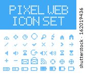 blue vector pixel web icons set | Shutterstock .eps vector #162019436