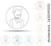 avatar of waiter in multi color ...