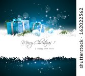 blue christmas greeting card... | Shutterstock .eps vector #162022562