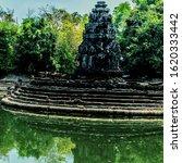 Small photo of Angkor Wat complex, Neak Pean (Neak Poan) artificial island with a Buddhist temple, Jayatataka Baray Cambodia (Kampuchea).