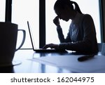 stressed businesswoman in the... | Shutterstock . vector #162044975