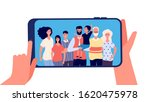 phone with family photo. hands... | Shutterstock .eps vector #1620475978