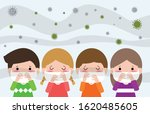 kids in masks because of fine...   Shutterstock .eps vector #1620485605