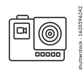 action camera black line icon....