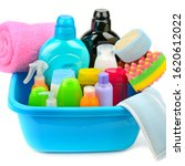 Small photo of Cleaning product in the basin isolated on white background . Household chemicals.