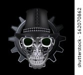 steampunk skull wearing top hat | Shutterstock .eps vector #162070862
