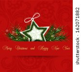 red vector christmas card | Shutterstock .eps vector #162071882