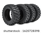 Heavy duty tires or truck tires. 3D rendering isolated on white background - stock photo