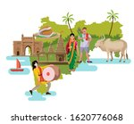 maharashtra culture with map...   Shutterstock .eps vector #1620776068