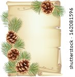 Old Scroll  Pine Branches And...