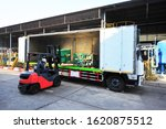 Forklift Is Putting Steel Bars...