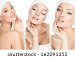 three photos in one  the girls... | Shutterstock . vector #162091352