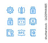 coding icons set line   vector