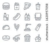 fast food related line icon set....