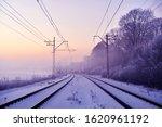 Winter Railway Landscape In The ...