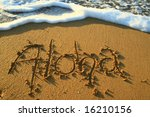 Aloha Written In The Sand Just...