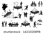 alien ufo and human first... | Shutterstock .eps vector #1621020898