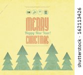 retro merry christmas and new... | Shutterstock .eps vector #162113426