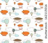 retro dirigible seamless... | Shutterstock .eps vector #162115016