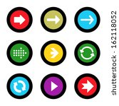 arrow sign icon set in circle...
