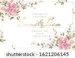 romantic pink flowers wedding... | Shutterstock .eps vector #1621206145