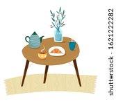 table with breakfast. teapot ... | Shutterstock .eps vector #1621222282