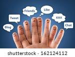 happy group of finger smileys... | Shutterstock . vector #162124112