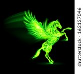 Green fire Pegasus rearing up. Illustration on black background - stock vector